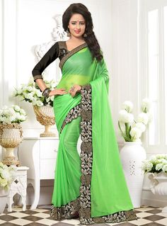 Buy Light Green Lycra Saree With Blouse 86504 with blouse online at lowest price from vast collection of sarees at Indianclothstore.com.