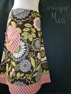 Pocket Aline SKIRT  Amy Butler  Olive Lacework by BoutiqueMiaByCXV, $54.00