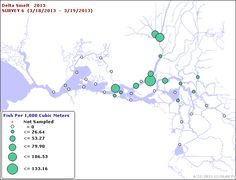 March Larval Survey Map.    Where were USFWS OCAP BO protections in March?