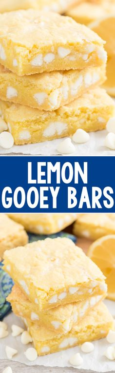 Lemon Gooey Bars - this EASY cake mix recipe uses lemon cake mix to form the bar that's filled with a gooey white chocolate filling! EVERYONE loves these!