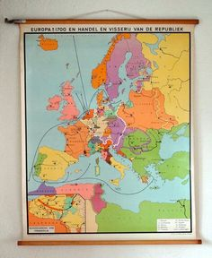 Vintage school map showing dutch trade routes