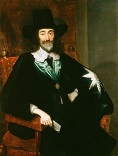The Royal Collection: Charles I (1600-1649) at his Trial by Edward Bower (1649). Wearing the Garter cloak with added silver star.