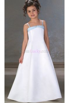 White Zipper Up Natural Sleeveless Long/Floor-length Flower Girl Dresses With Bow FD2638