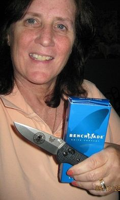 Maureen Harrison was the winner of our photo contest last week. Here she is with her prize, a Limited Edition National Matches Benchmade Knife Company knife. Thanks to everyone who participated, be sure to look out for our next contest, you could be the next winner!
