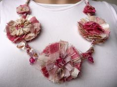 Necklace Fiber Pink White Cream Gold Silk Fabric Necklace Flowers Fabric Jewelry Silk & Beads One of a Kind. $95.00, via Etsy.