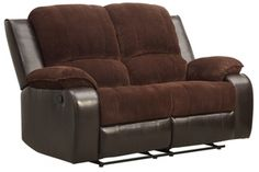 $404 Dark Brown Corduroy and PU Double Reclining/Rockers Love Seat