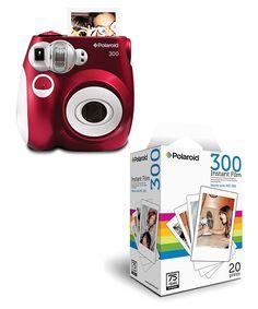 Red Analog Polaroid Camera & Film Set