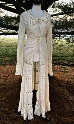 Free People ivory crochet swing bottom long maxi sweater duster coat NWT S RARE #FreePeople #longmaxiduster
