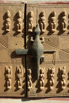 Africa   A beautifully carved door of the Dogon Country. Mali