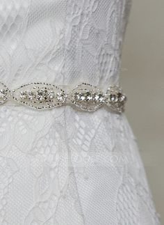 Women Satin Rhinestones Sash Simple Sashes & Belts