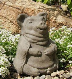 "This little piggy statue cried ""OM OM OM"" all the way home. This Little Piggy, Little Pigs, Garden Statues, Garden Sculpture, Stone Statues, Cast Stone, The Way Home, Folk, Meditation"