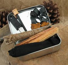 (if you assemble your own it should include a blast match, lighter, 80 waterproof matches, 4 candles, vaseline & cotton balls.) OR forget all that and do char-clothe and waterproof matches. Camping Survival, Outdoor Survival, Survival Prepping, Emergency Preparedness, Survival Skills, Survival Gear, Camping Gear, Outdoor Camping, Camping Hacks