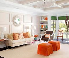 Mix orange and green and the result is brown. These tones are found in a combination on a brown chair and separately in vibrant, earthy accents in this mostly white room: http://www.bhg.com/decorating/color/schemes/colors-that-go-with-orange/?socsrc=bhgpin052914burntorange&page=9