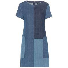 J Brand Luna Denim Mini Dress (4.876.805 IDR) ❤ liked on Polyvore featuring dresses, blue, blue dress, blue denim dress, short dresses, mini dress and j brand dresses