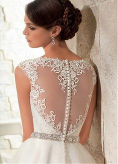 Elegant Tulle Jewel Neckline Natural Waistline A-line Wedding Dress With Venice Lace Appliques #NewYearSale
