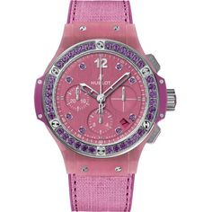 HUBLOT 341.XP.2770.NR.1205 big bang purple linen watch ($16,175) ❤ liked on Polyvore featuring jewelry, watches, purple watches, polish jewelry, water resistant watches, hublot watches and hublot