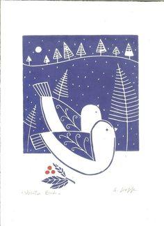 Winter Love Birds Lino Print -Doves - Snow -Blue Art Print £20.00