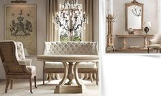 Rooms | Restoration Hardware a bench like this and some chairs for the dining room... ahh