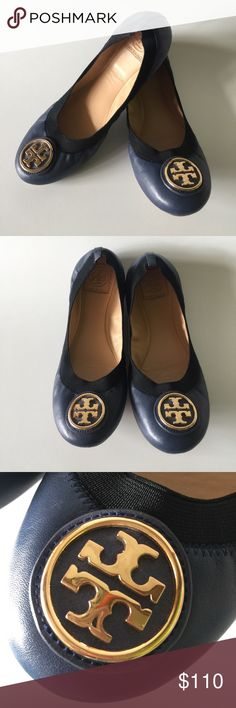 Tory Burch Navy Leather stretch ballet flats In pretty great condition. The soles are scratches and the under toe has a couple scratches as well, none of which you can see while worn. Tory Burch Shoes Flats & Loafers