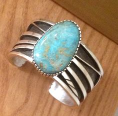 Large 43 ct. Burtis Blue Tri-color turquoise on an abstract Sterling silver cuff by Colorado Jewelrydude