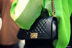 Ambitieuse: PFW AW13 | street style   Chanel + neon