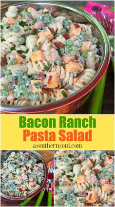Bacon Ranch Pasta Salad Crispy bacon, tender pasta, sharp cheese, sweet peas and cool, ranch dressing all together might just make the be. Bacon Ranch Pasta Salad, Best Pasta Salad, Bacon Pasta, Pasta Salad Recipes, Healthy Salad Recipes, Recipe Pasta, Recipe Box, Simple Pasta Salad, Healthy Food