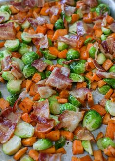 Brussel Sprout Hash, Brussels Sprouts, Sprouting Sweet Potatoes, Roasted Sweet Potatoes, Sprouts With Bacon, Sweet Potato Recipes, Side Dishes, Veggies, Healthy Recipes