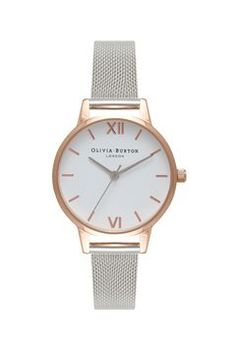 **White Dial Mesh Watch by Olivia Burton