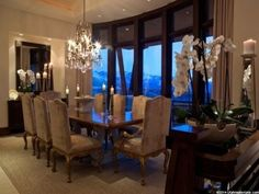 Beautiful formal dining room with mountain views