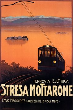 Stresa Travel Lake Maggiore Mount Mottarone Cable Car Italy Tourism Vintage Poster Repro FREE Shippi