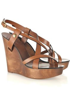Chloé Wooden wedge leather sandals #shoes #wedges