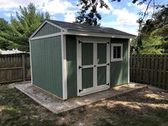 This neat saltbox shed was built by Dan using my 12x10 saltbox shed plans. Nice color scheme Dan!