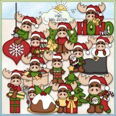 Merry Christmoose 1 - NE Kristi W. Designs Clip Art : Digi Web Studio, Clip Art, Printable Crafts & Digital Scrapbooking!