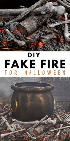 Create a realistic fake fire prop this Halloween with just a few simple supplies! This cool DIY looks just like a real fake fire pit and makes the perfect Halloween decoration when you add a witches cauldron to it. Spray foam, paint, and orange lights are transformed in this fun Halloween project. Halloween Yard Displays, Outside Halloween Decorations, Halloween Outside, Theme Halloween, Holidays Halloween, Spooky Halloween, Diy Halloween Props, Halloween Yard Ideas, Diy Halloween Lighting