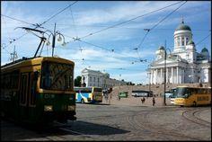 View of Senator Square & Helsinki Cathedral + tram