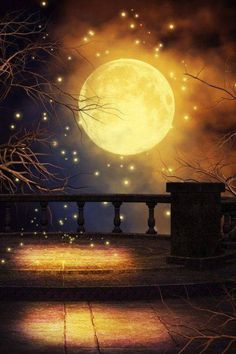 Mystic Night free background by *KlaraKay on deviantART….Checkout this beautiful fantasy art by this amazing artist. Moon Pictures, Moon Photos, Moon Magic, Beautiful Moon, Beautiful Things, Moon Art, Stars And Moon, Moon And Stars Wallpaper, Belle Photo