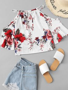 Shop Tie Neck Open Shoulder Floral Top at ROMWE, discover more fashion styles online. Teenage Girl Outfits, Girls Fashion Clothes, Tween Fashion, Teen Fashion Outfits, Girl Fashion, Cute Casual Outfits, Pretty Outfits, Tumblr Outfits, Blouse Designs