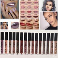Marca de moda de maquillaje metálico líquido impermeable mate lápiz labial duradero brillo de labios cosméticos de maquillaje 15 colores para girls mujeres