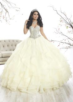 77d5dd966f2 Strapless Ruffled Quinceanera Dress by House of Wu 26870