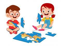 happy cute little kid boy and girl play jigsaw puzzle - Comprar este vetor do stock e explorar vetores semelhantes no Adobe Stock Cartoon Kids, Cute Cartoon, Cute Little Baby Girl, Boy Character, Preschool Learning Activities, Cute Clipart, Puzzles For Kids, Coloring For Kids, Diy For Kids