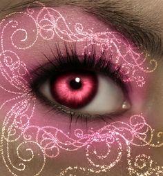 Fairy Queen Eye Art ~ by na-jedkittykaiba on deviantART Pretty In Pink, Pretty Eyes, Pink Love, Cool Eyes, Beautiful Eyes, Tout Rose, Pink Eye Makeup, Fairy Queen, Look Into My Eyes