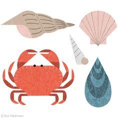Gorgeous cut out illustration by Ryo Takemasa Crab Illustration, Am Meer, Food Illustrations, Graphic Art, Print Patterns, Ryo Takemasa, Character Design, Sketches, Drawings