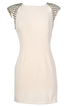 In keeping with the trend of shoulder embellishments, this ivory sheath dress has a touch of Great Gatsby style with an edge.  The Studded Shoulder Ivory Sheath Dress has a great classic sheath cut with bold silver stud embellishments on each shoulder.  This is a great way to add just a hint of Gatsby style to your ensemble–and it retails for $46.