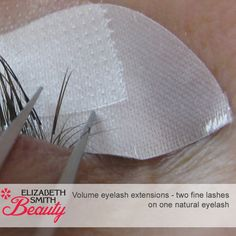 Volume lashes - close up of 2D eyelash extension.