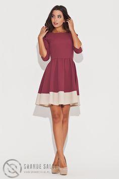 Dwukolorowa sukienka rozkloszowana dostępna w sklepie internetowym GrandeSaldi.