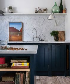 Love the color, love the marble. Fabulous Skye Gyngell kitchen by British Standard, Carrara marble countertop and back splash, Farrow & Ball Hague Blue Cabinets. Photography by Alexis Hamilton. Blue Cabinets, Kitchen Cupboards, New Kitchen, Kitchen Dining, Kitchen Decor, Minimal Kitchen, Kitchen Ideas, Kitchen Designs, Kitchen Island