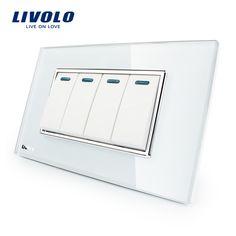 Fabricante livolo lujo panel de cristal cristal blanco, 4 Gang, 2 Modo de Botón de Home Pared, VL-C3K4S-81