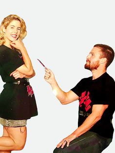 """""""Stephen Amell and Emily Bett """" Credit to all the fans that make this possible! Arrow Cast, Arrow Tv, Between Serie, Susanna Thompson, Dc Tv Series, Tommy Merlyn, Colin Donnell, Oliver Queen Felicity Smoak, David Ramsey"""