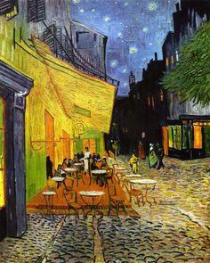 """Vincent van Goghs """"Café bei Nacht"""" (auch """"Café de Nuit"""" oder """"Caféterrasse bei Nacht"""" genannt) zeigt einen Markise in einem Gässchen der südfranzösischen Stadt Arles."""