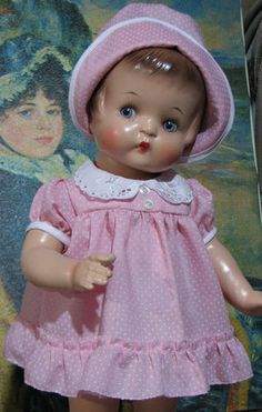 Pretty Dress Hat for Effanbee Patsy Ann from Vintage Pink Dot Fabric No Doll | eBay